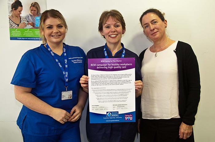 Midwifery staff with the pledge