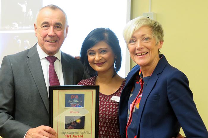 Sangeeta with the award