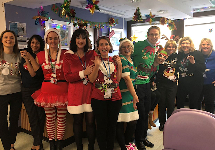 Paediatric staff in Christmas clothing