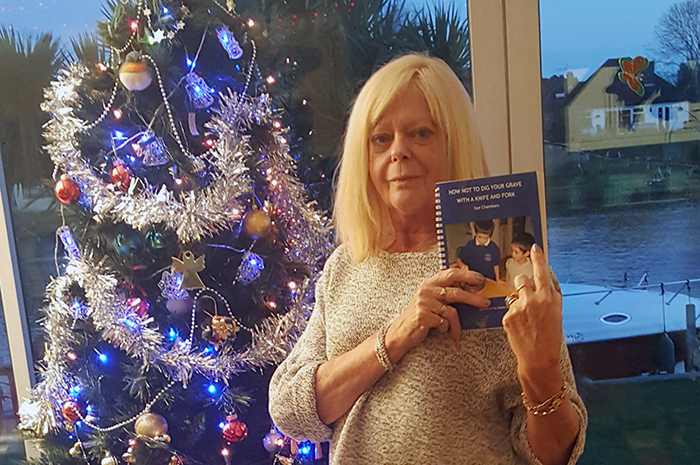 Sue with her book